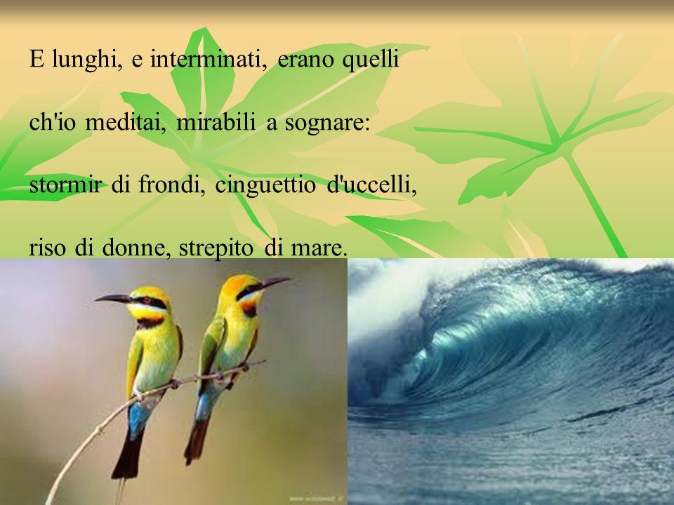 E lunghi, e interminati, erano quelli ch'io meditai, mirabili a sognare: stormir di frondi, cinguettio d'uccelli, riso di donne, strepito di mare.