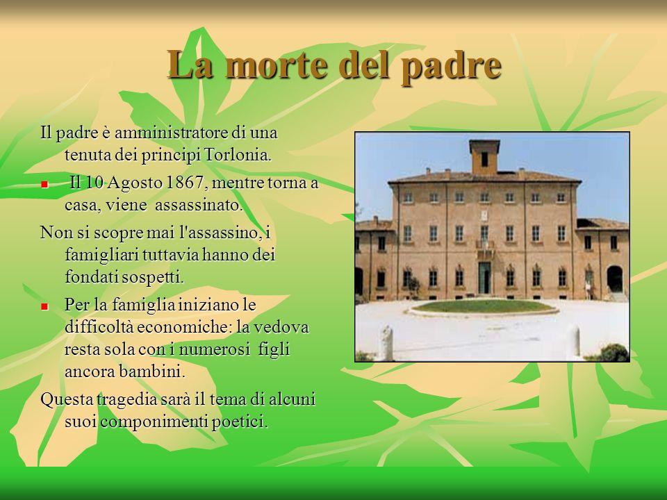 La morte del padre Il padre è amministratore di una tenuta dei principi Torlonia. Il 10 Agosto 1867, mentre torna a casa, viene assassinato. Il 10 Ago