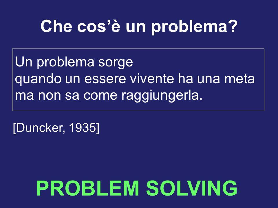 PROBLEM SOLVING Che cosè un problema? Un problema sorge quando un essere vivente ha una meta ma non sa come raggiungerla. [Duncker, 1935]