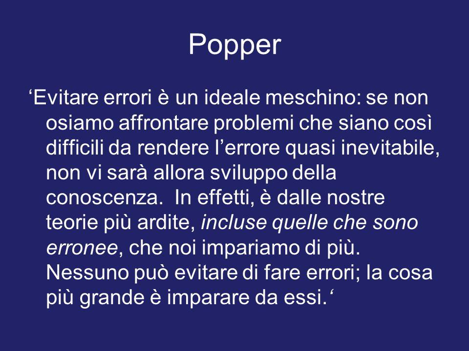 Popper Evitare errori è un ideale meschino: se non osiamo affrontare problemi che siano così difficili da rendere lerrore quasi inevitabile, non vi sa