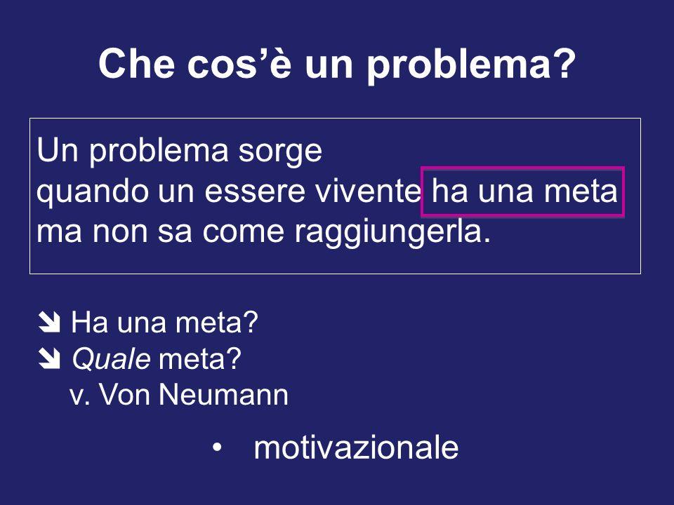 Che cosè un problema? Un problema sorge quando un essere vivente ha una meta ma non sa come raggiungerla. motivazionale Ha una meta? Quale meta? v. Vo