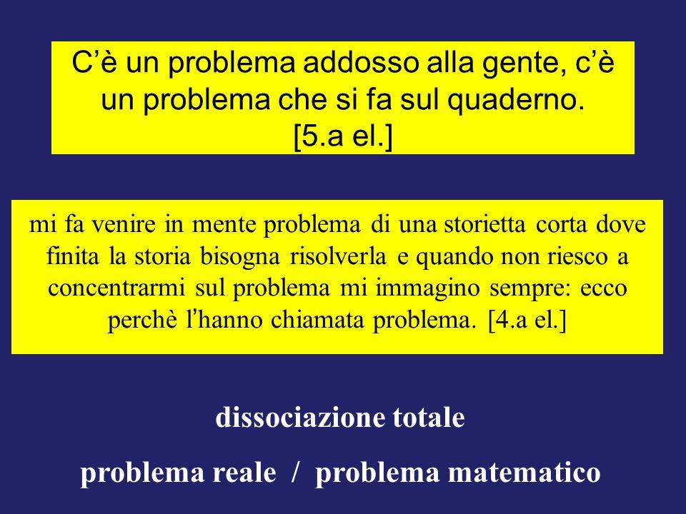 Cè un problema addosso alla gente, cè un problema che si fa sul quaderno. [5.a el.] dissociazione totale problema reale / problema matematico mi fa ve