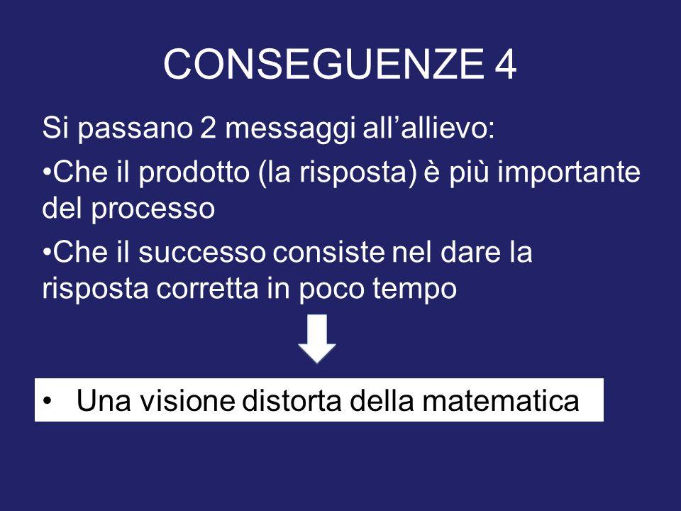CONSEGUENZE 4 Si passano 2 messaggi allallievo: Che il prodotto (la risposta) è più importante del processo Che il successo consiste nel dare la rispo