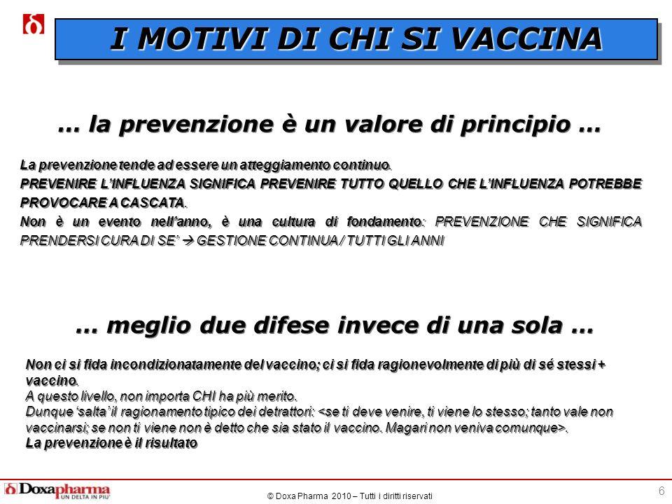 © Doxa Pharma 2010 – Tutti i diritti riservati 6 … la prevenzione è un valore di principio … La prevenzione tende ad essere un atteggiamento continuo.