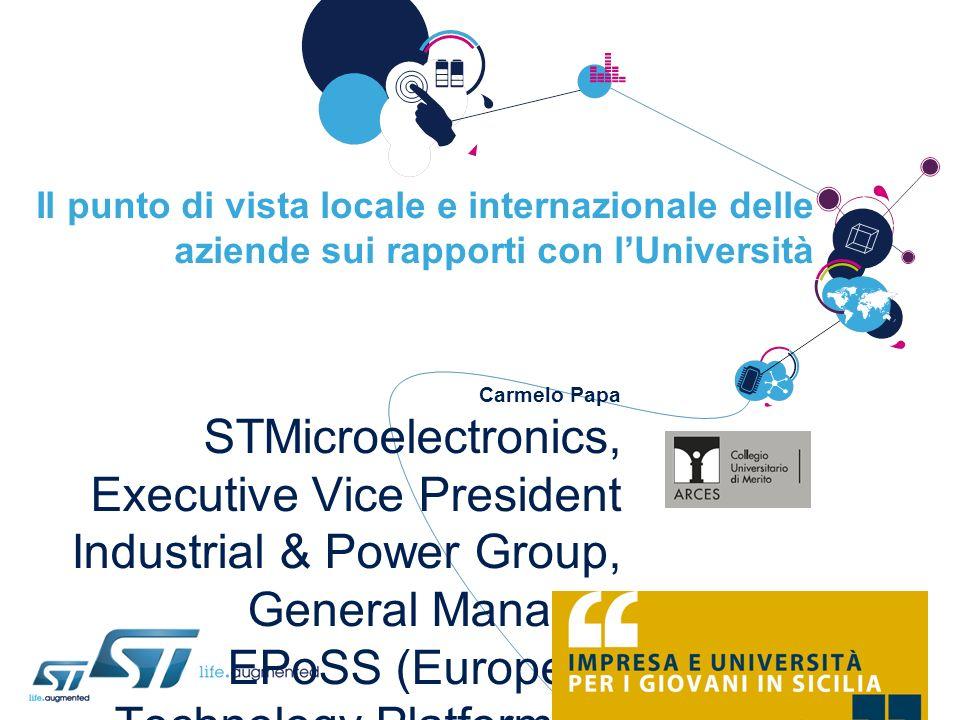 Il punto di vista locale e internazionale delle aziende sui rapporti con lUniversità Carmelo Papa STMicroelectronics, Executive Vice President Industr
