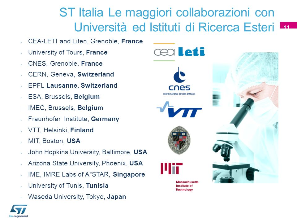 CEA-LETI and Liten, Grenoble, France University of Tours, France CNES, Grenoble, France CERN, Geneva, Switzerland EPFL Lausanne, Switzerland ESA, Brussels, Belgium IMEC, Brussels, Belgium Fraunhofer Institute, Germany VTT, Helsinki, Finland MIT, Boston, USA John Hopkins University, Baltimore, USA Arizona State University, Phoenix, USA IME, IMRE Labs of A*STAR, Singapore University of Tunis, Tunisia Waseda University, Tokyo, Japan ST Italia Le maggiori collaborazioni con Università ed Istituti di Ricerca Esteri 11