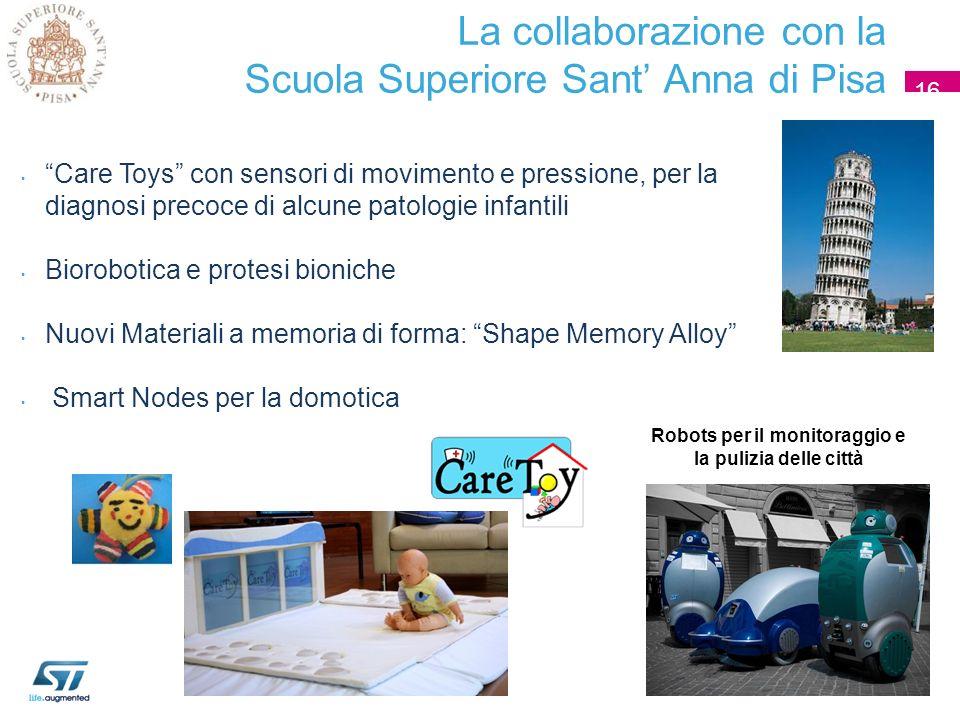 La collaborazione con la Scuola Superiore Sant Anna di Pisa 16 Care Toys con sensori di movimento e pressione, per la diagnosi precoce di alcune patol