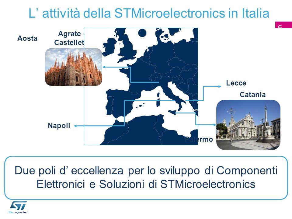 L attività della STMicroelectronics in Italia Agrate e Castelletto Catania Due poli d eccellenza per lo sviluppo di Componenti Elettronici e Soluzioni