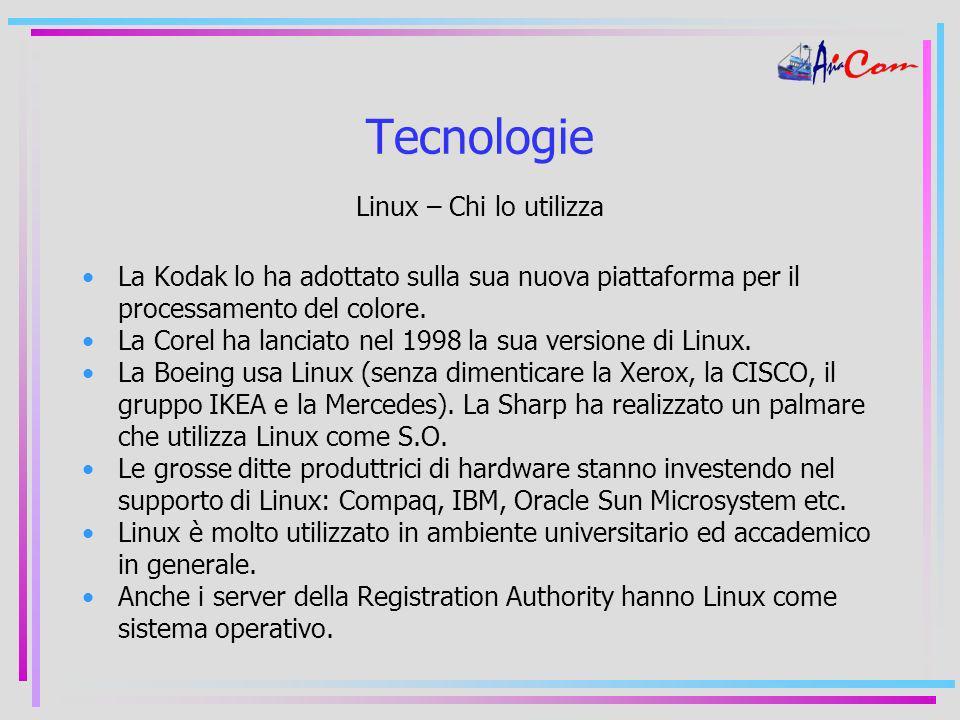 Tecnologie Linux – Chi lo utilizza La Kodak lo ha adottato sulla sua nuova piattaforma per il processamento del colore.