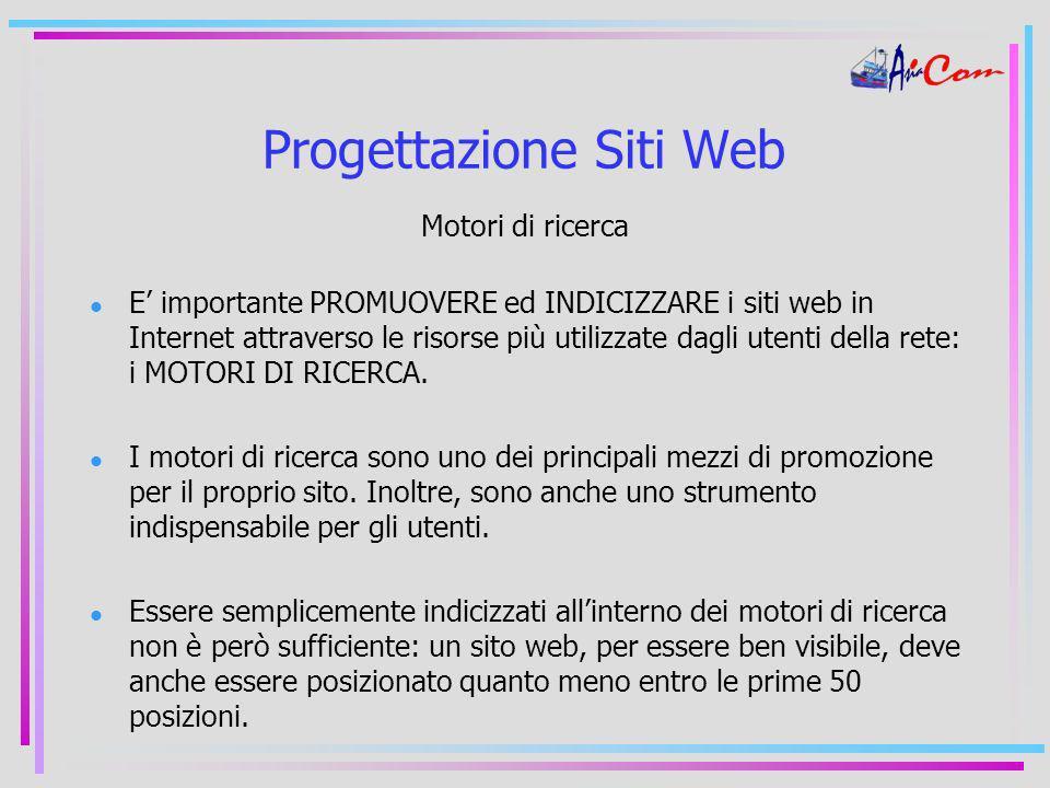 Progettazione Siti Web Motori di ricerca E importante PROMUOVERE ed INDICIZZARE i siti web in Internet attraverso le risorse più utilizzate dagli utenti della rete: i MOTORI DI RICERCA.
