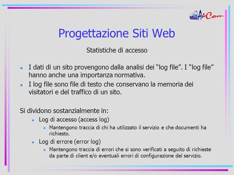 Progettazione Siti Web Statistiche di accesso I dati di un sito provengono dalla analisi dei log file.