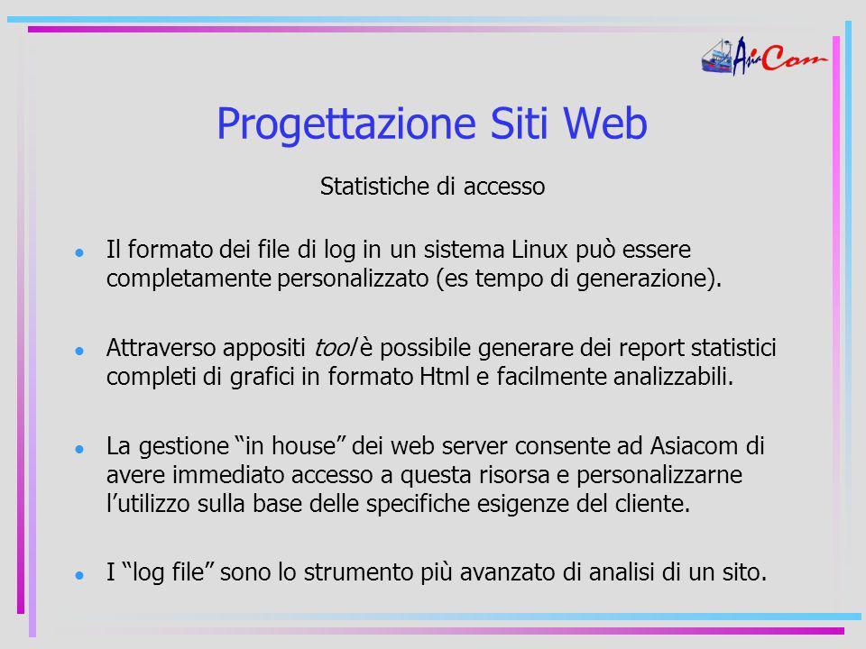 Progettazione Siti Web Statistiche di accesso Il formato dei file di log in un sistema Linux può essere completamente personalizzato (es tempo di generazione).