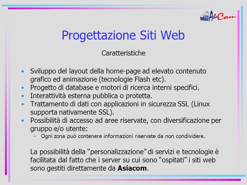 Progettazione Siti Web Caratteristiche Sviluppo del layout della home-page ad elevato contenuto grafico ed animazione (tecnologie Flash etc).