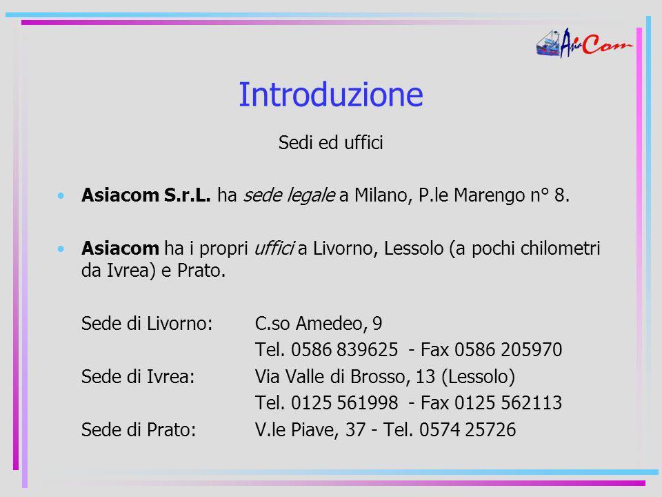 Introduzione Sedi ed uffici Asiacom S.r.L. ha sede legale a Milano, P.le Marengo n° 8.