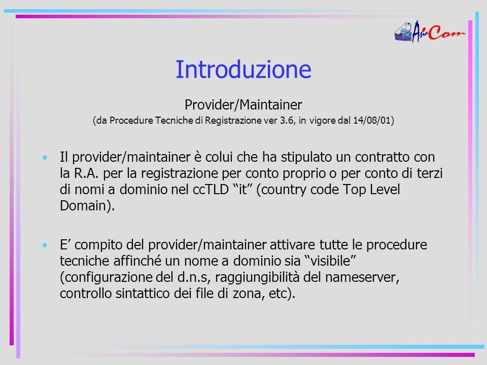 Introduzione Provider/Maintainer (da Procedure Tecniche di Registrazione ver 3.6, in vigore dal 14/08/01) Il provider/maintainer è colui che ha stipulato un contratto con la R.A.