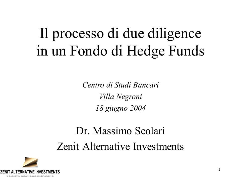 1 Il processo di due diligence in un Fondo di Hedge Funds Dr. Massimo Scolari Zenit Alternative Investments Centro di Studi Bancari Villa Negroni 18 g