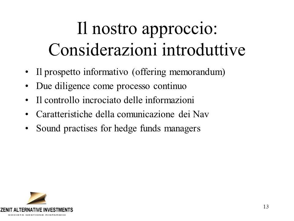 13 Il nostro approccio: Considerazioni introduttive Il prospetto informativo (offering memorandum) Due diligence come processo continuo Il controllo i