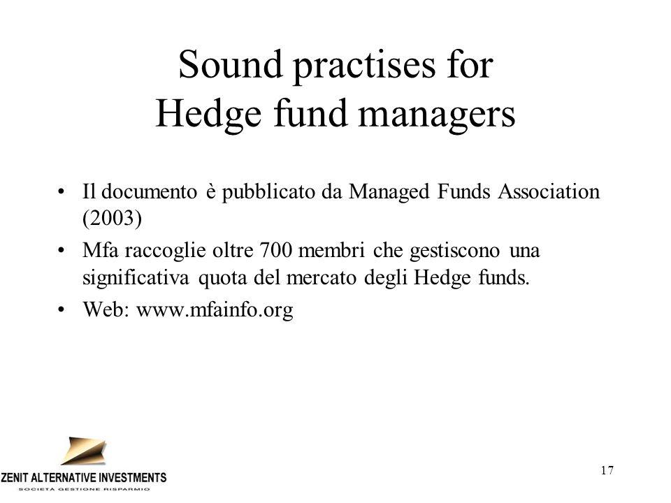 17 Sound practises for Hedge fund managers Il documento è pubblicato da Managed Funds Association (2003) Mfa raccoglie oltre 700 membri che gestiscono