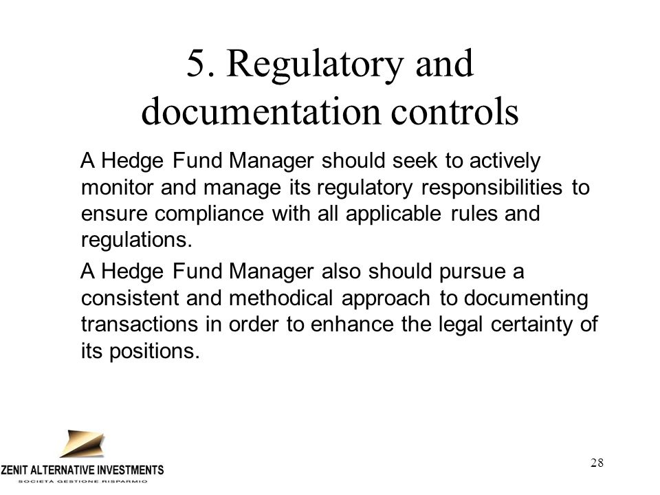 28 5. Regulatory and documentation controls A Hedge Fund Manager should seek to actively monitor and manage its regulatory responsibilities to ensure