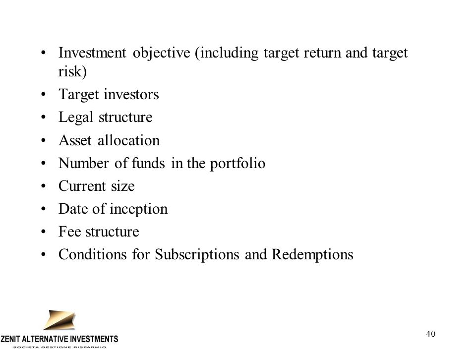 41 Provide a breakdown of assets under management by Fund including Investment Style; Inception Date; and targeted Risk/ Return: (Fund of fund business only) Does the Company apply leverage to some or all of its products.