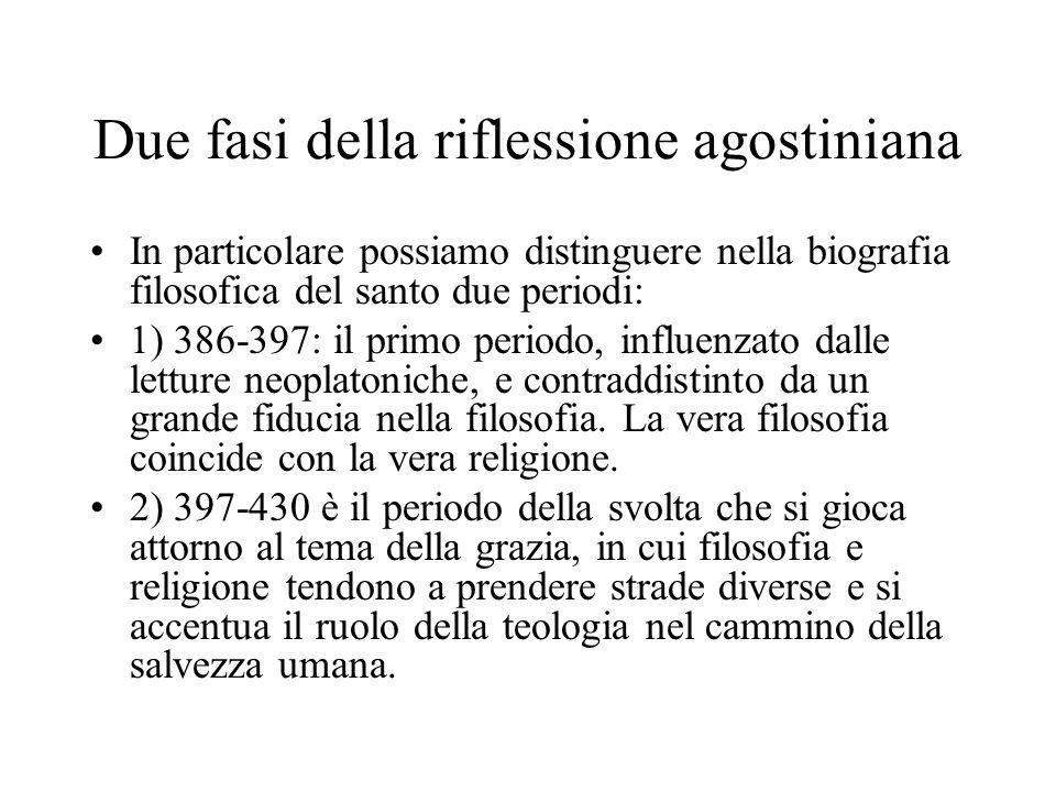 Due fasi della riflessione agostiniana In particolare possiamo distinguere nella biografia filosofica del santo due periodi: 1) 386-397: il primo peri