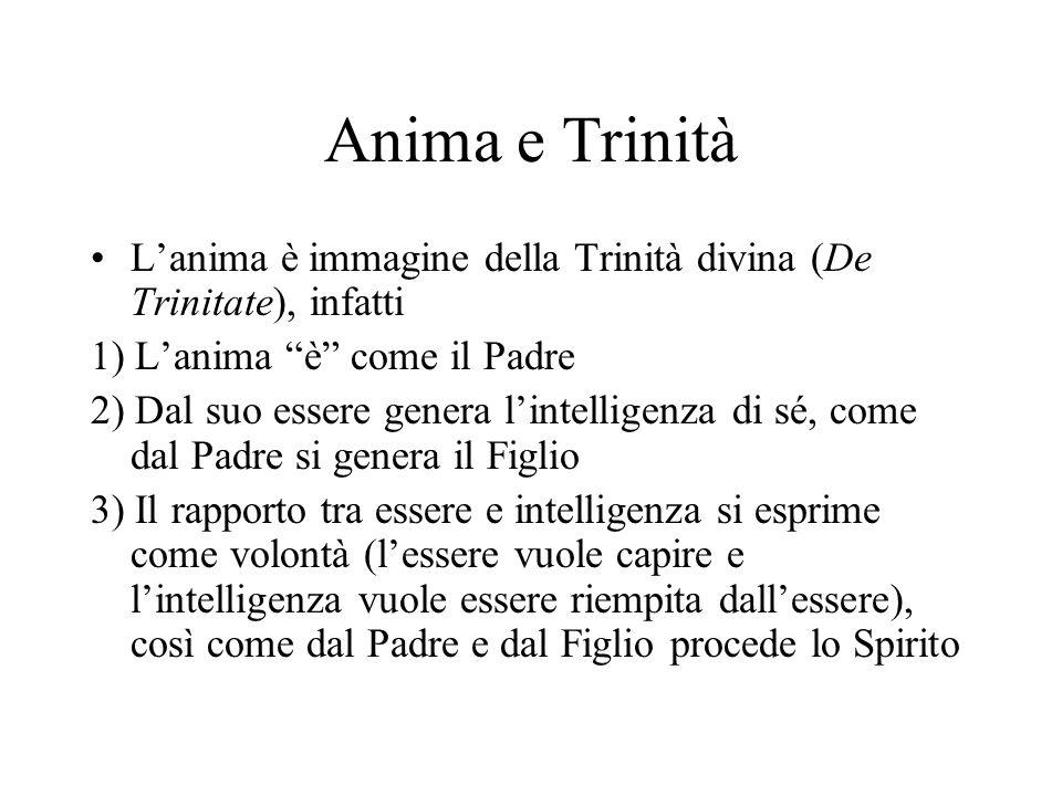 Anima e Trinità Lanima è immagine della Trinità divina (De Trinitate), infatti 1) Lanima è come il Padre 2) Dal suo essere genera lintelligenza di sé,