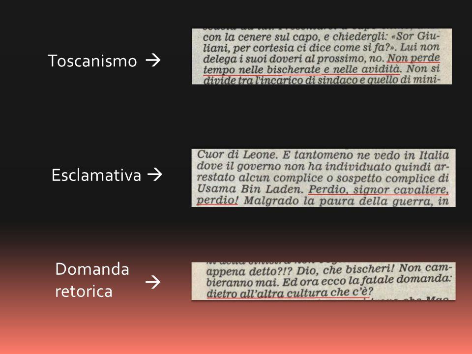 Domanda retorica Toscanismo Esclamativa