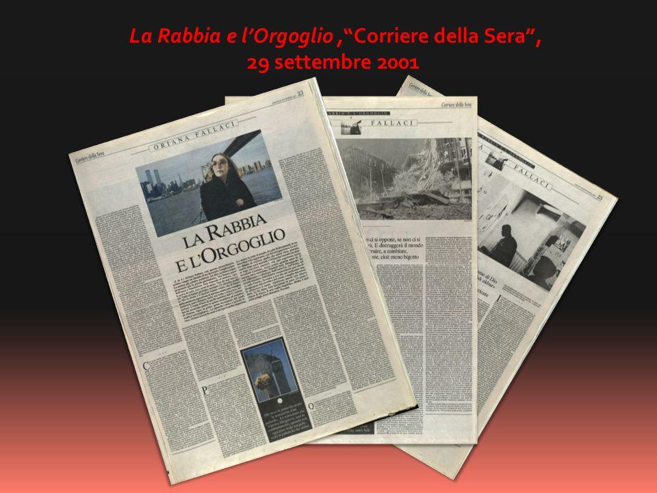 La Rabbia e lOrgoglio,Corriere della Sera, 29 settembre 2001