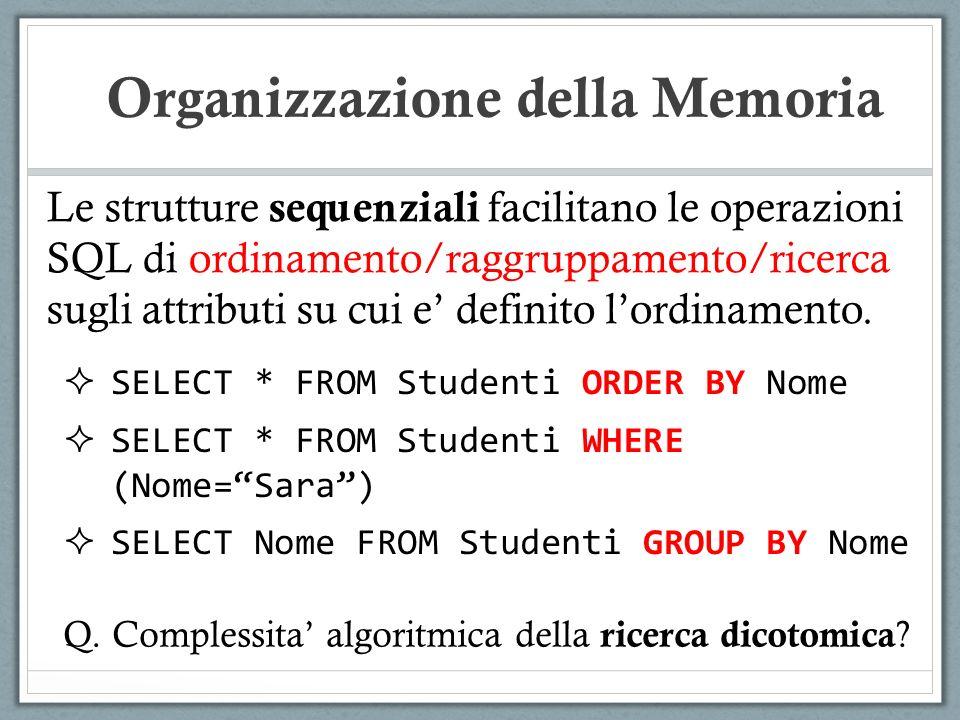 Le strutture sequenziali facilitano le operazioni SQL di ordinamento/raggruppamento/ricerca sugli attributi su cui e definito lordinamento. Organizzaz