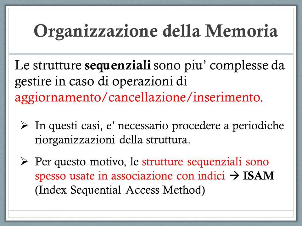 Le strutture sequenziali sono piu complesse da gestire in caso di operazioni di aggiornamento/cancellazione/inserimento. Organizzazione della Memoria