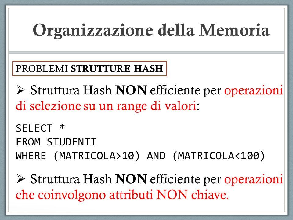 PROBLEMI STRUTTURE HASH Organizzazione della Memoria Struttura Hash NON efficiente per operazioni di selezione su un range di valori: SELECT * FROM ST
