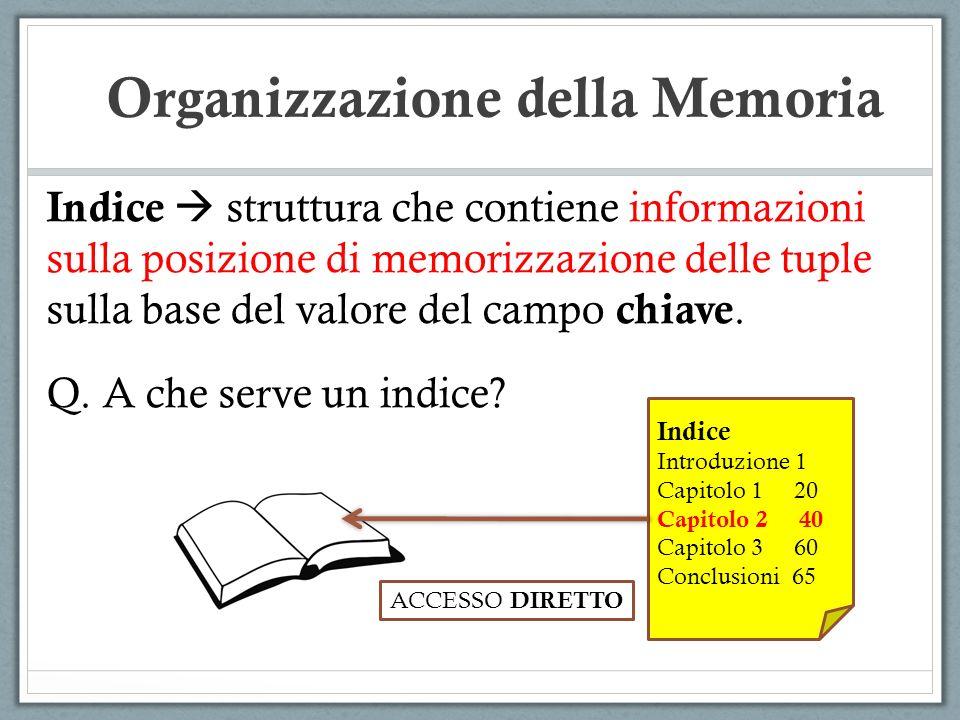 Indice struttura che contiene informazioni sulla posizione di memorizzazione delle tuple sulla base del valore del campo chiave. Q. A che serve un ind