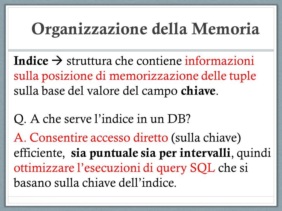 Indice struttura che contiene informazioni sulla posizione di memorizzazione delle tuple sulla base del valore del campo chiave. Q. A che serve lindic