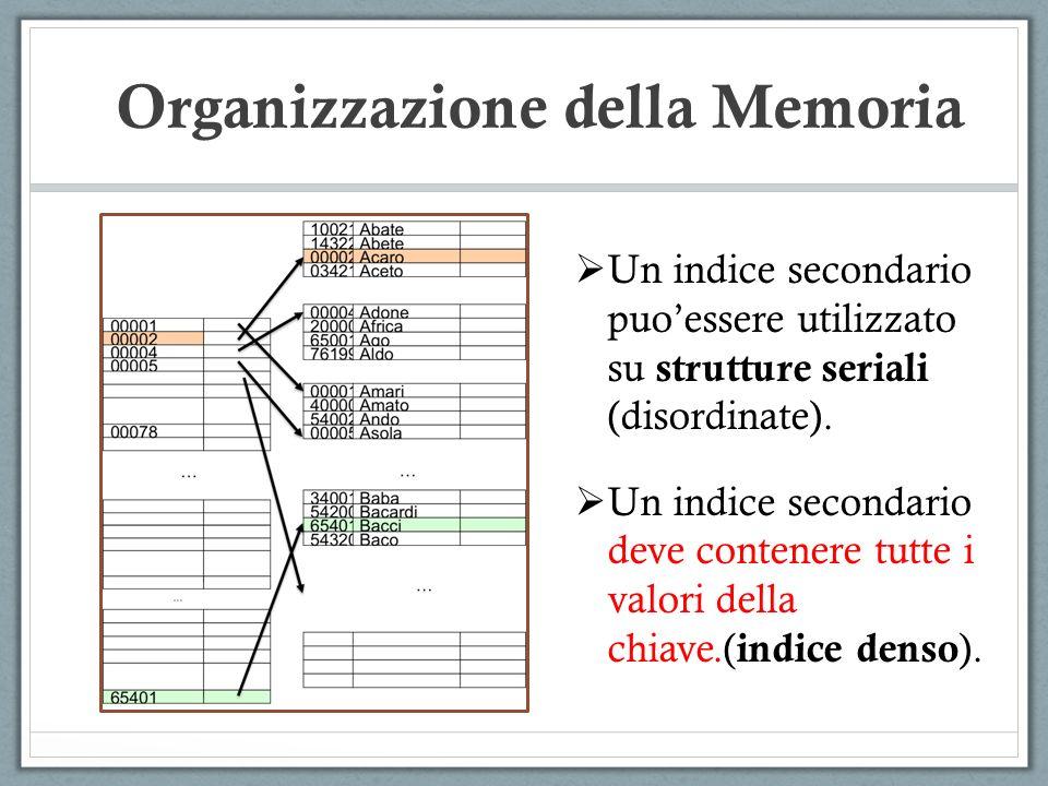 Un indice secondario puoessere utilizzato su strutture seriali (disordinate). Un indice secondario deve contenere tutte i valori della chiave.( indice