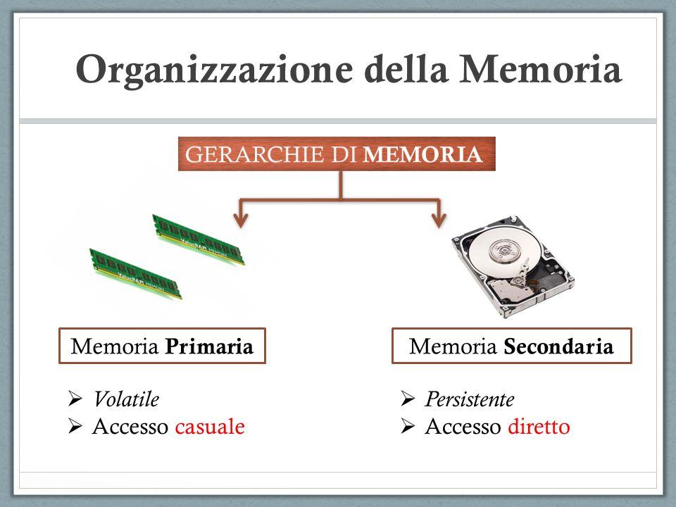 Organizzazione della Memoria Memoria Primaria Memoria Secondaria Volatile Accesso casuale Persistente Accesso diretto