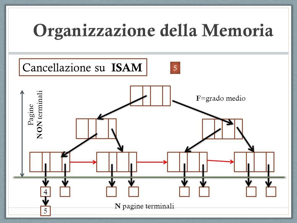 Cancellazione su ISAM 4 Pagine NON terminali N pagine terminali F =grado medio 5 Organizzazione della Memoria