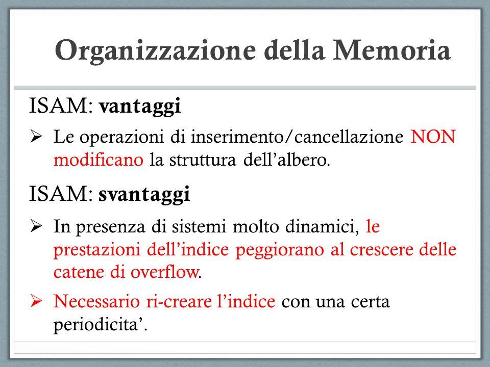 ISAM: vantaggi Le operazioni di inserimento/cancellazione NON modificano la struttura dellalbero. ISAM: svantaggi In presenza di sistemi molto dinamic