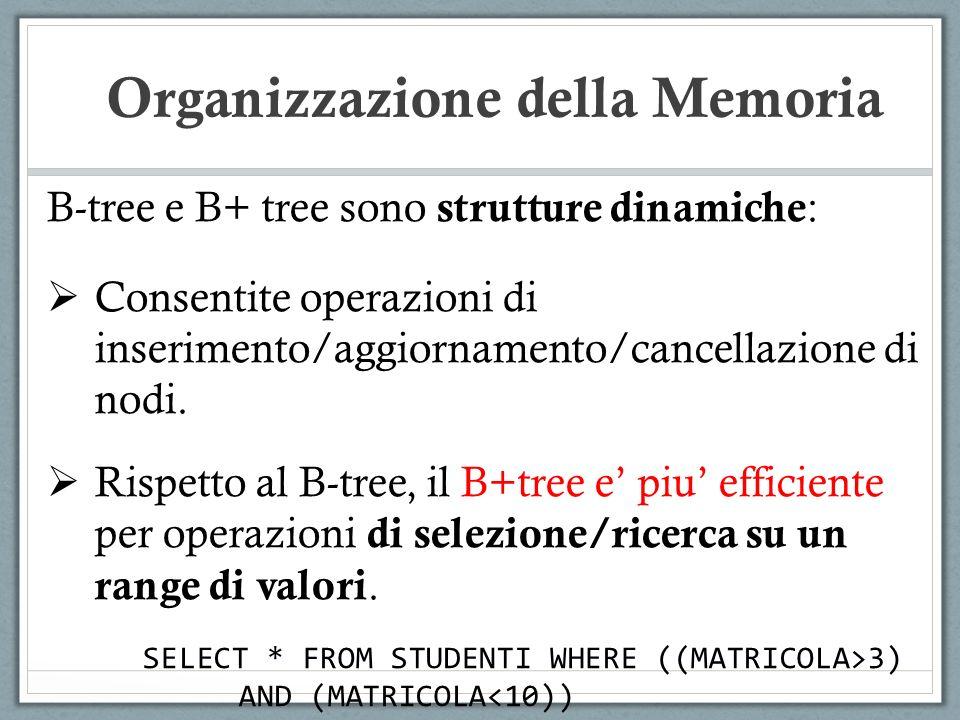 B-tree e B+ tree sono strutture dinamiche : Consentite operazioni di inserimento/aggiornamento/cancellazione di nodi. Rispetto al B-tree, il B+tree e