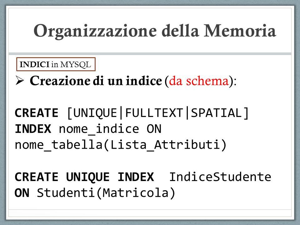 Creazione di un indice (da schema): CREATE [UNIQUE|FULLTEXT|SPATIAL] INDEX nome_indice ON nome_tabella(Lista_Attributi) CREATE UNIQUE INDEX IndiceStud