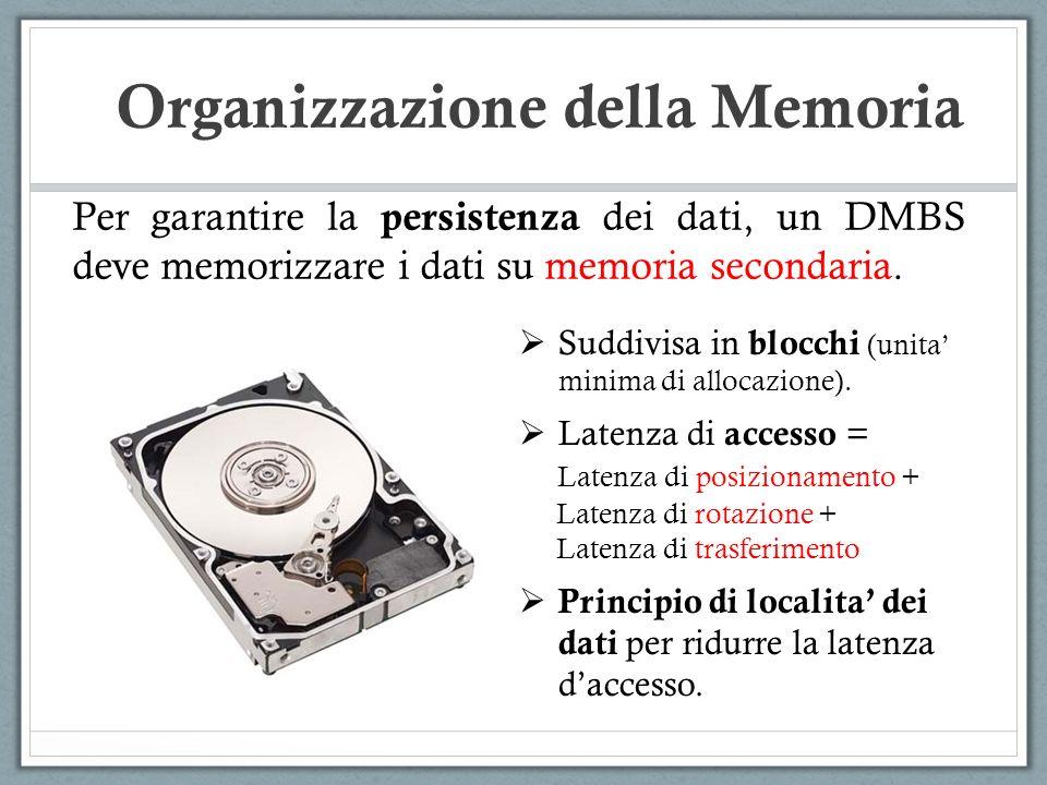 Organizzazione della Memoria Per garantire la persistenza dei dati, un DMBS deve memorizzare i dati su memoria secondaria. Suddivisa in blocchi (unita