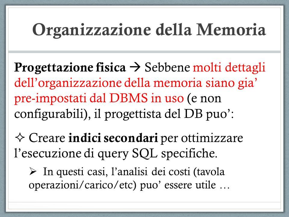 Progettazione fisica Sebbene molti dettagli dellorganizzazione della memoria siano gia pre-impostati dal DBMS in uso (e non configurabili), il progett