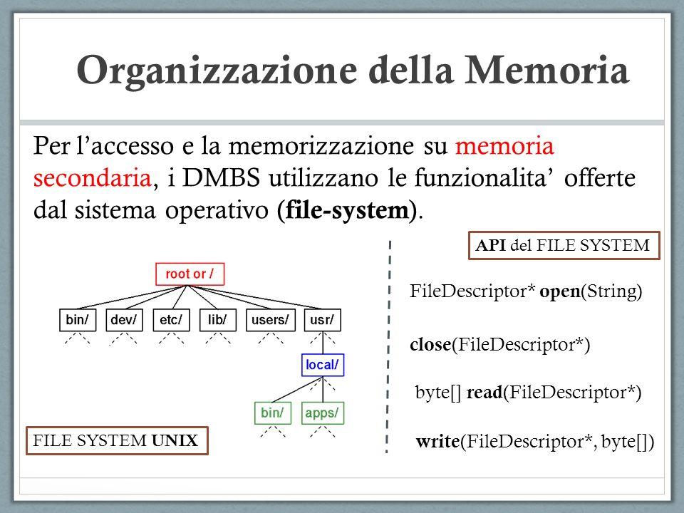 Per laccesso e la memorizzazione su memoria secondaria, i DMBS utilizzano le funzionalita offerte dal sistema operativo ( file-system ). Organizzazion