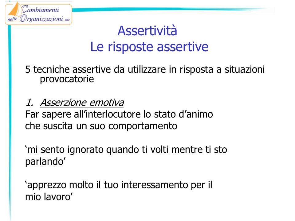 Assertività Le risposte assertive 5 tecniche assertive da utilizzare in risposta a situazioni provocatorie 1.Asserzione emotiva Far sapere allinterloc