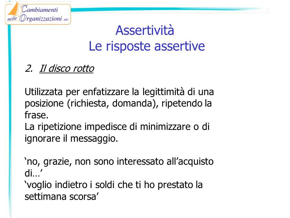 Assertività Le risposte assertive 2.Il disco rotto Utilizzata per enfatizzare la legittimità di una posizione (richiesta, domanda), ripetendo la frase