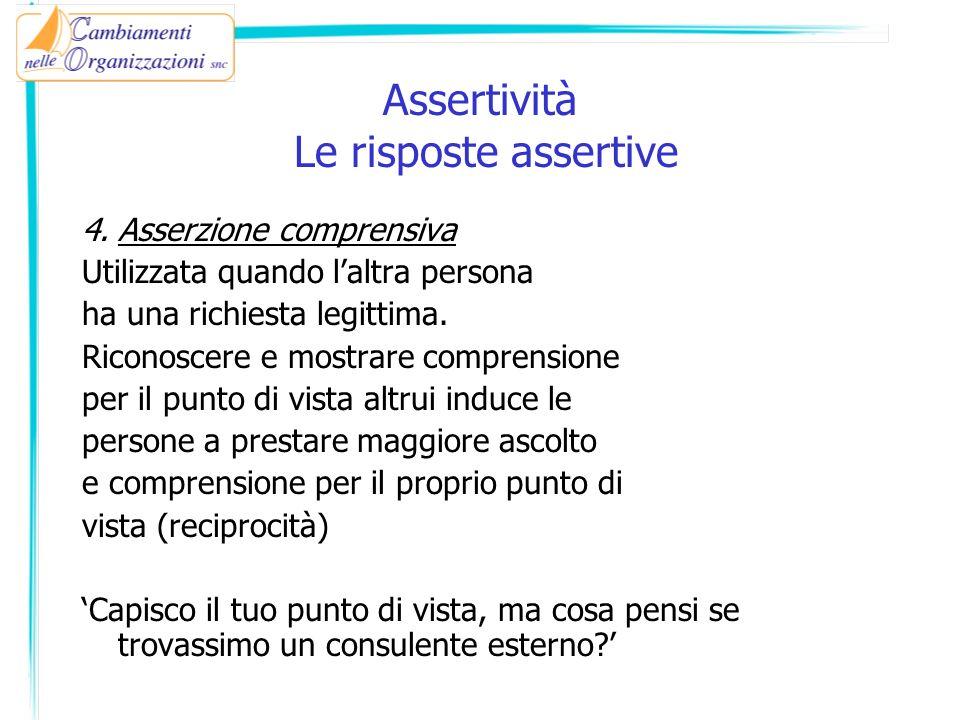 4.Asserzione comprensiva Utilizzata quando laltra persona ha una richiesta legittima. Riconoscere e mostrare comprensione per il punto di vista altrui