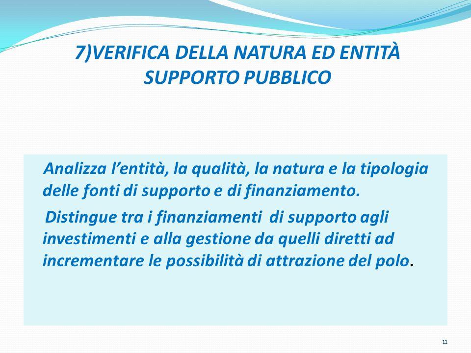 7)VERIFICA DELLA NATURA ED ENTITÀ SUPPORTO PUBBLICO Analizza lentità, la qualità, la natura e la tipologia delle fonti di supporto e di finanziamento.