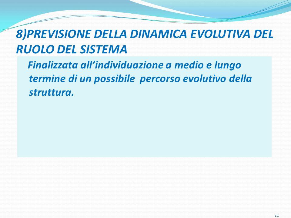 8)PREVISIONE DELLA DINAMICA EVOLUTIVA DEL RUOLO DEL SISTEMA Finalizzata allindividuazione a medio e lungo termine di un possibile percorso evolutivo della struttura.