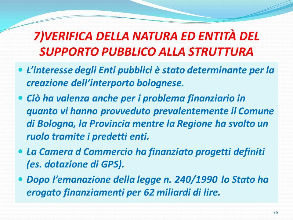 7)VERIFICA DELLA NATURA ED ENTITÀ DEL SUPPORTO PUBBLICO ALLA STRUTTURA Linteresse degli Enti pubblici è stato determinante per la creazione dellinterporto bolognese.