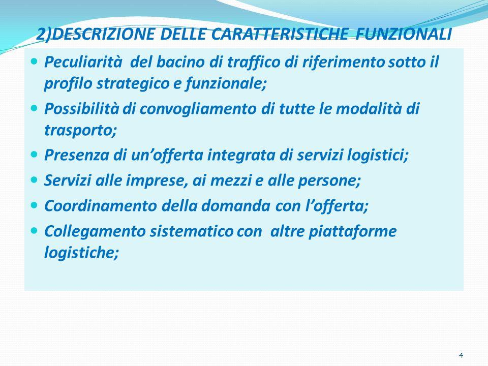 2)DESCRIZIONE DELLE CARATTERISTICHE FUNZIONALI Peculiarità del bacino di traffico di riferimento sotto il profilo strategico e funzionale; Possibilità di convogliamento di tutte le modalità di trasporto; Presenza di unofferta integrata di servizi logistici; Servizi alle imprese, ai mezzi e alle persone; Coordinamento della domanda con lofferta; Collegamento sistematico con altre piattaforme logistiche; 4