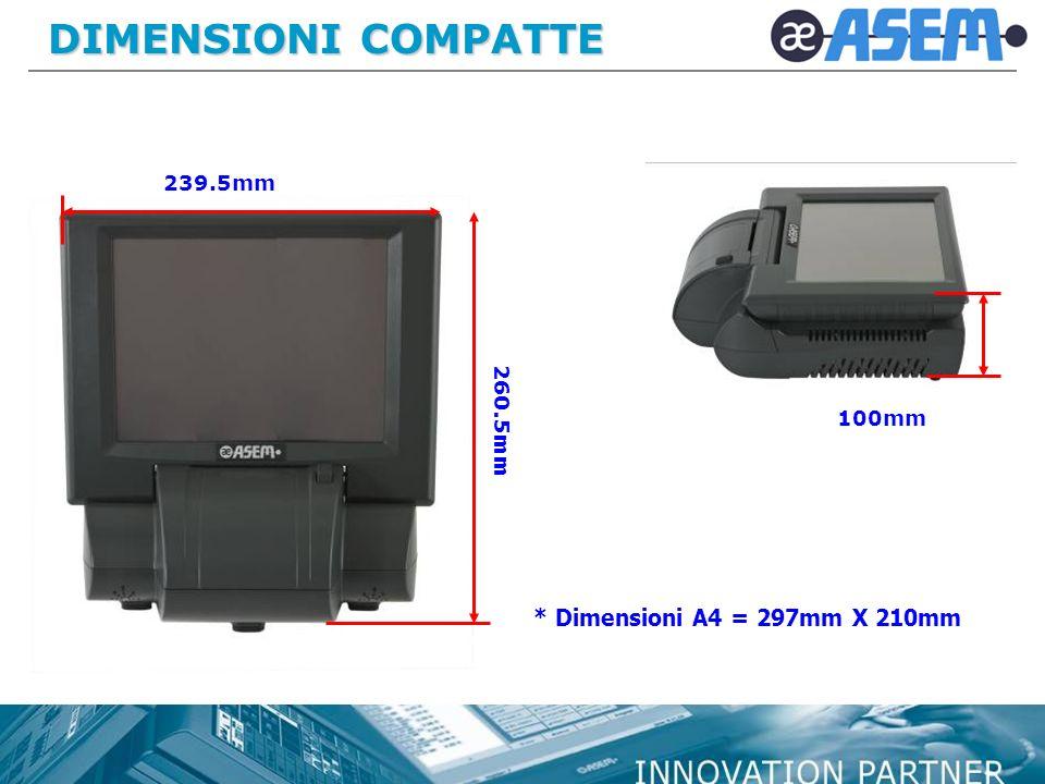 DIMENSIONI COMPATTE 239.5mm 260.5mm 100mm * Dimensioni A4 = 297mm X 210mm